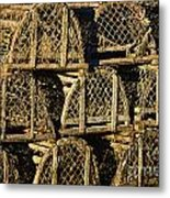 Wooden Lobster Traps Metal Print