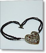 3597 Vintage Heart Brooch Pendant Necklace Metal Print