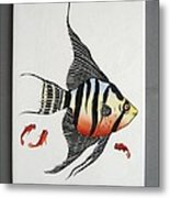 361 Tile With Fishes Metal Print by Wilma Manhardt