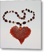 3610 Iridescent Copper Plated Cottonwood Leaf Pendant Necklace Metal Print