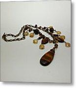 3618 Tigereye And Citrine Necklace Metal Print