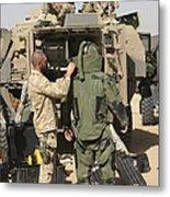 A U.s. Marine Gets Suited Metal Print