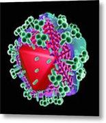 Aids Virus Particle, Computer Artwork Metal Print