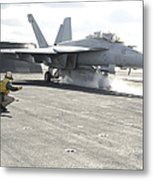 An Fa-18f Super Hornet Launches Metal Print