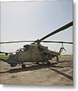 An Mi-35 Attack Helicopter At Kunduz Metal Print