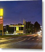 Estonian Gas Station At Night Metal Print by Jaak Nilson