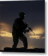 Partially Silhouetted U.s. Marine Metal Print