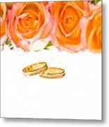 4 Red Yellow Roses And Wedding Rings Over White Metal Print