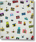 Retro Camera Pattern Metal Print