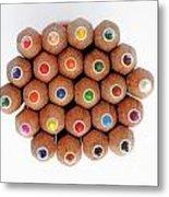 Row Of Colorful Crayons Metal Print