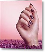Woman Hand With Purple Nail Polish Metal Print