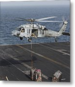 A Mh-60s Knighthawk Conducts A Vertical Metal Print