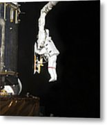 Astronaut Working On The Hubble Space Metal Print