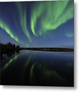 Aurora Borealis Over Long Lake Metal Print