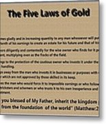 5 Laws Of Gold Metal Print