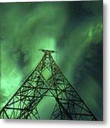 Powerlines And Aurora Borealis Metal Print by Arild Heitmann