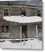 Snowy Abandoned Homestead Porch Metal Print