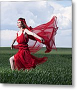 Woman In Red Series Metal Print