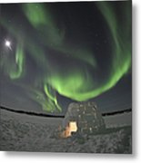 Aurora Borealis Over An Igloo On Walsh Metal Print