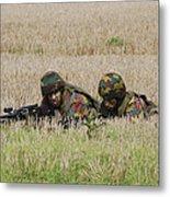 Belgian Paratroopers On Guard Metal Print