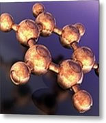 Benzene, Molecular Model Metal Print