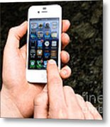 Hands Holding An Iphone Metal Print