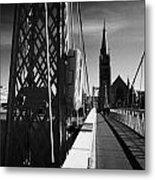 Pedestrian Suspension Footbridge The Greig Street Bridge Over The River Ness Inverness Highland Scot Metal Print by Joe Fox