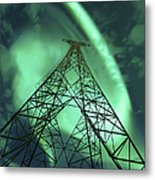 Powerlines And Aurora Borealis Metal Print by Arild Heitmann