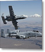 Two A-10 Thunderbolts Fly Metal Print
