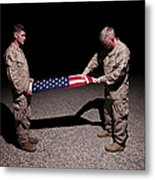 U.s. Marines Fold The American Flag Metal Print
