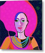 656 - Woman With Summer Hat Metal Print