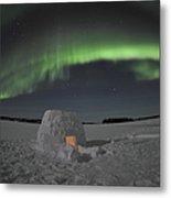 Aurora Borealis Over An Igloo On Walsh Metal Print