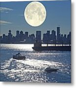 Full Moon Over Vancouver Metal Print