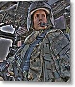 Hdr Image Of A Pilot Sitting Metal Print