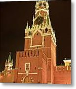 Red Square In Moscow At Night Metal Print