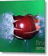 Bullet Hitting An Apple Metal Print
