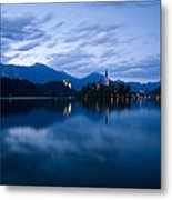 Dusk Over Lake Bled Metal Print