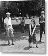 Silent Film Still: Golf Metal Print
