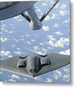 A B-2 Spirit Approaches The Refueling Metal Print by Stocktrek Images