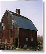 A Barn On A Farm In Nebraka Metal Print