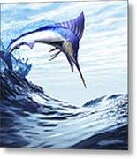 A Beautiful Blue Marlin Bursts Metal Print