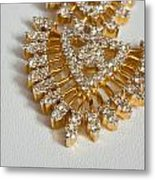 A Beautiful Gold And Diamond Pendant On A White Background Metal Print