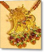 A Beautiful Intricately Carved Gold Pendant Hanging From A Semi-precious Stone Chain Metal Print