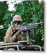 A Belgian Army Soldier Handling Metal Print