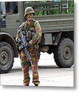 A Belgian Infantry Soldier Handling Metal Print by Luc De Jaeger