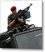 A Belgian Paratrooper Manning A Fn Mag Metal Print