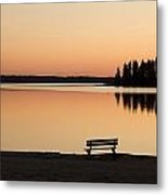 A Bench Silhouetted At Sunset Near The Metal Print