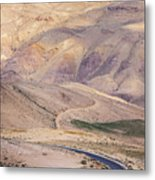 A Bend In A Desert Road Near Mount Nebo Metal Print by Martin Child