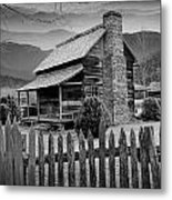 A Black And White Photograph Of An Appalachian Mountain Cabin Metal Print