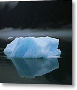 A Blue Iceberg And Its Reflection Metal Print